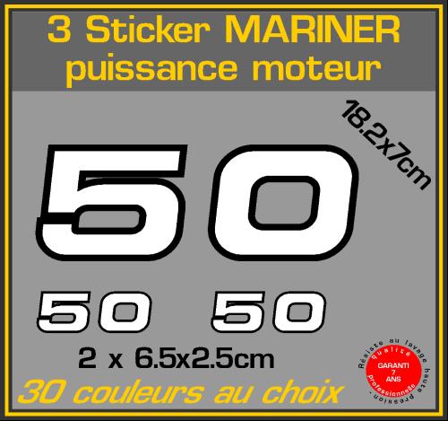 3 sticker mariner puissance moteur 50 cv serie 2 hors bord bateau peche