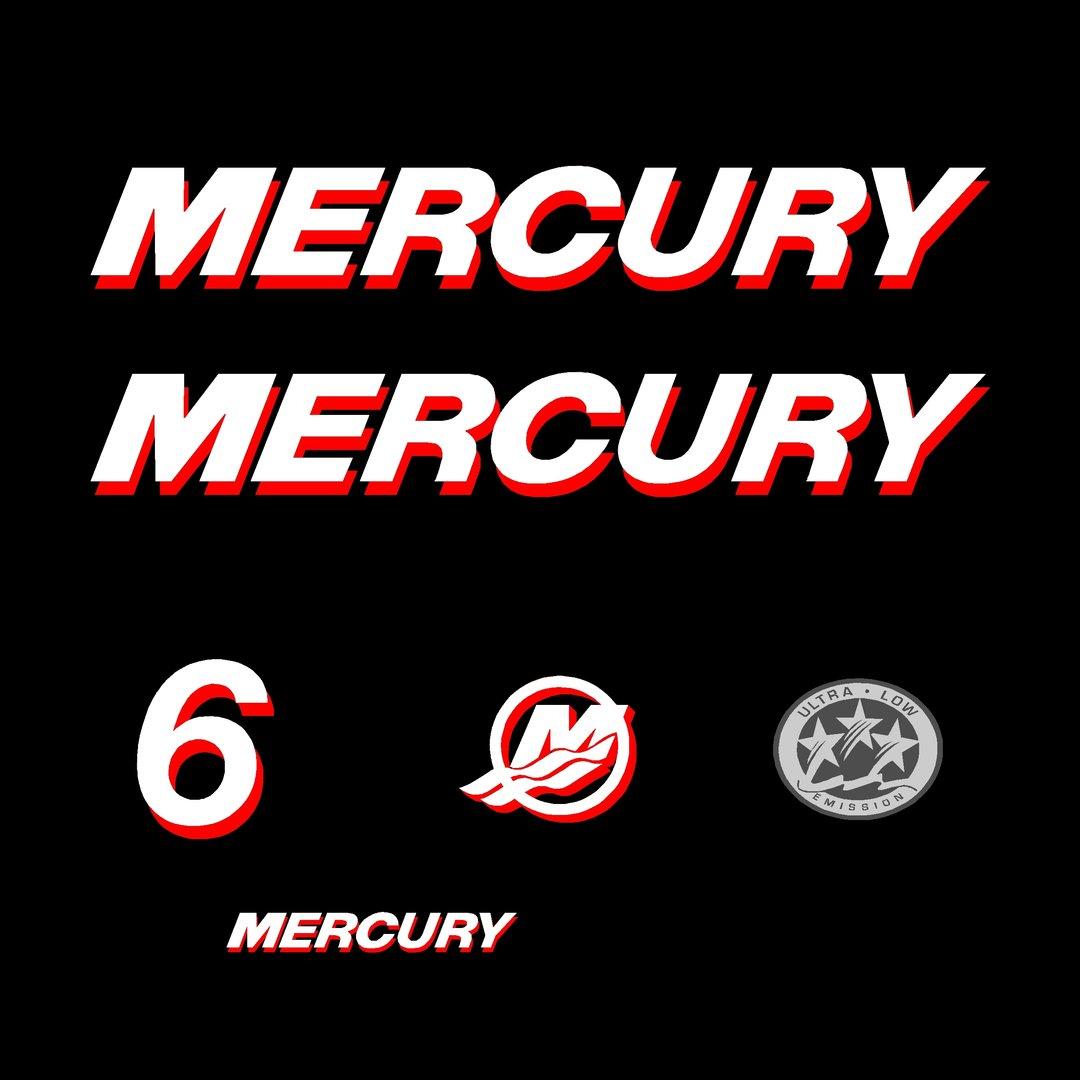 1 kit stickers mercury 6 cv ref 33 pour capot moteur hors