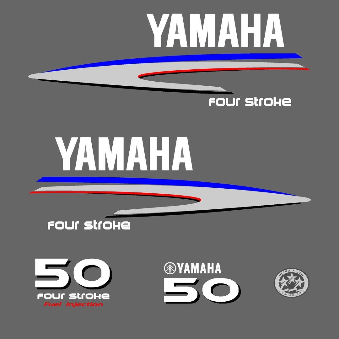 1 kit stickers yamaha 50cv serie 2 pour capot moteur