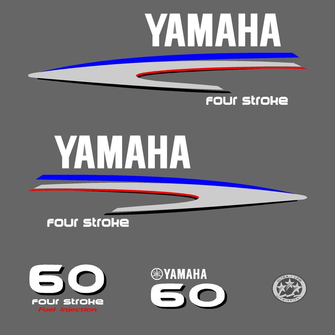 1 kit stickers yamaha 60cv serie 2 pour capot moteur