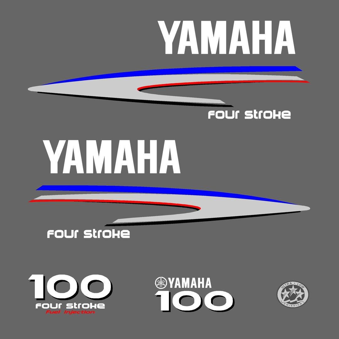 1 kit stickers yamaha 100cv serie 2 pour capot moteur