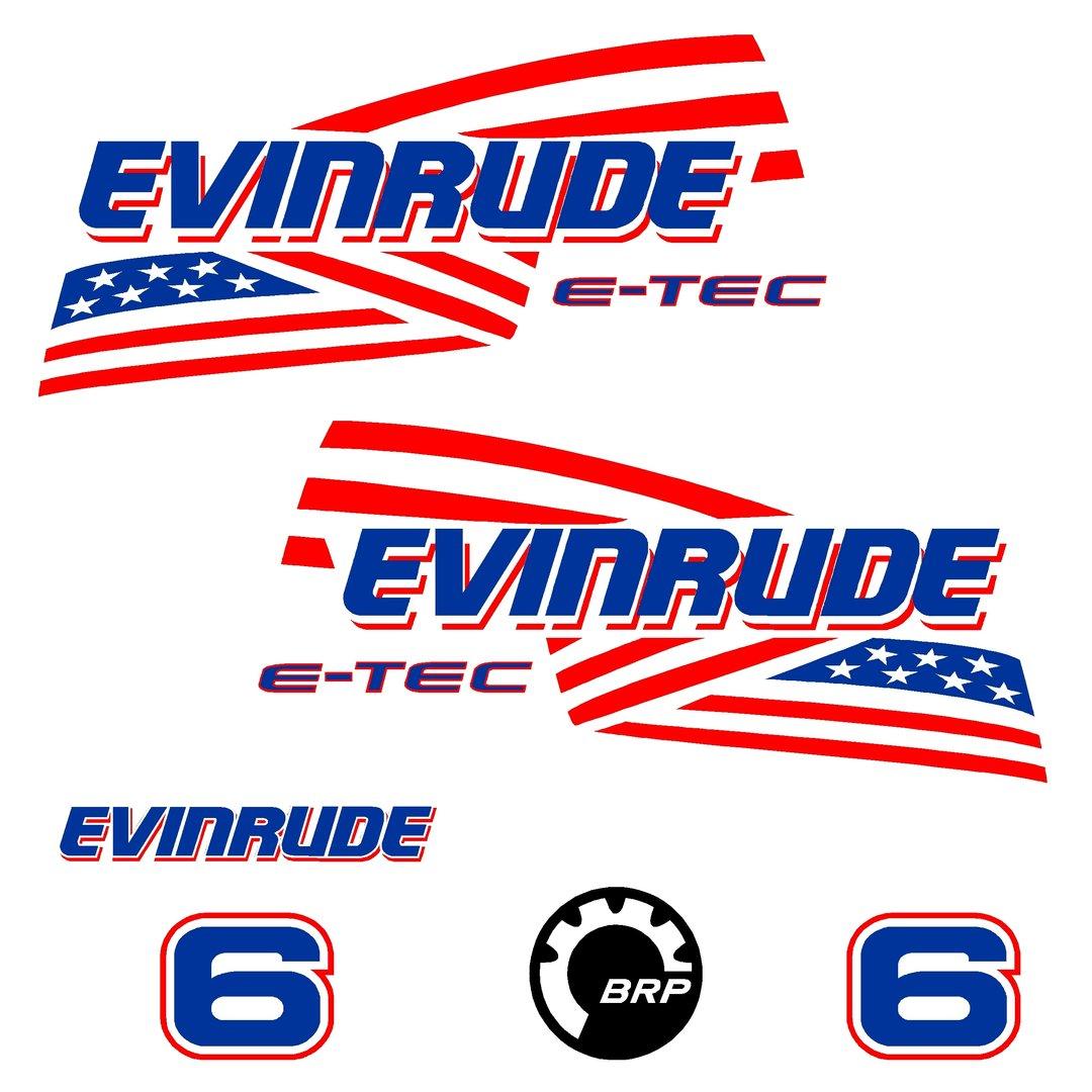 1 kit stickers evinrude 6 cv serie 2 ref 2 capot moteur hors bord