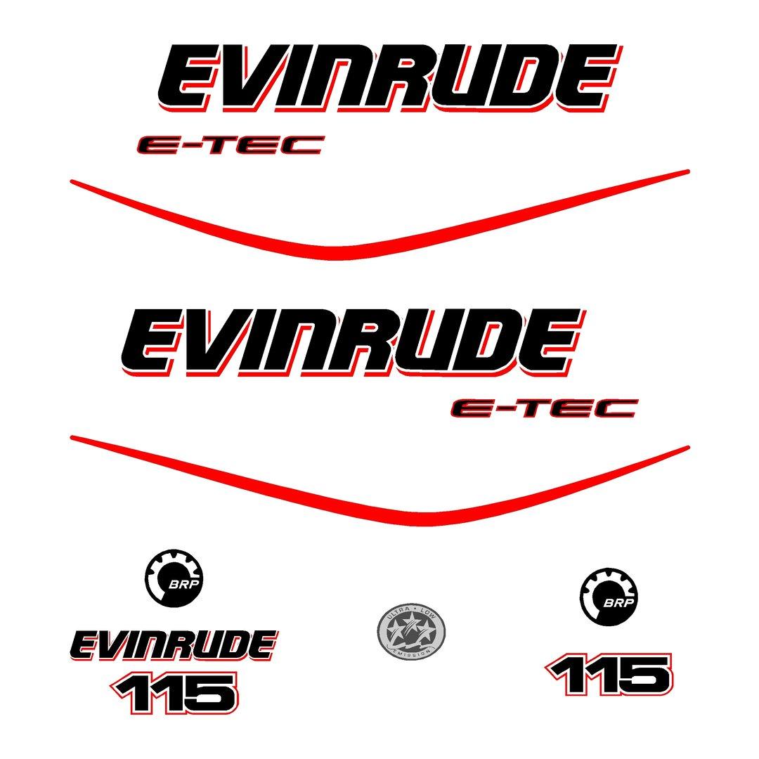 1 kit stickers evinrude 115 cv serie 3 pour capot moteur
