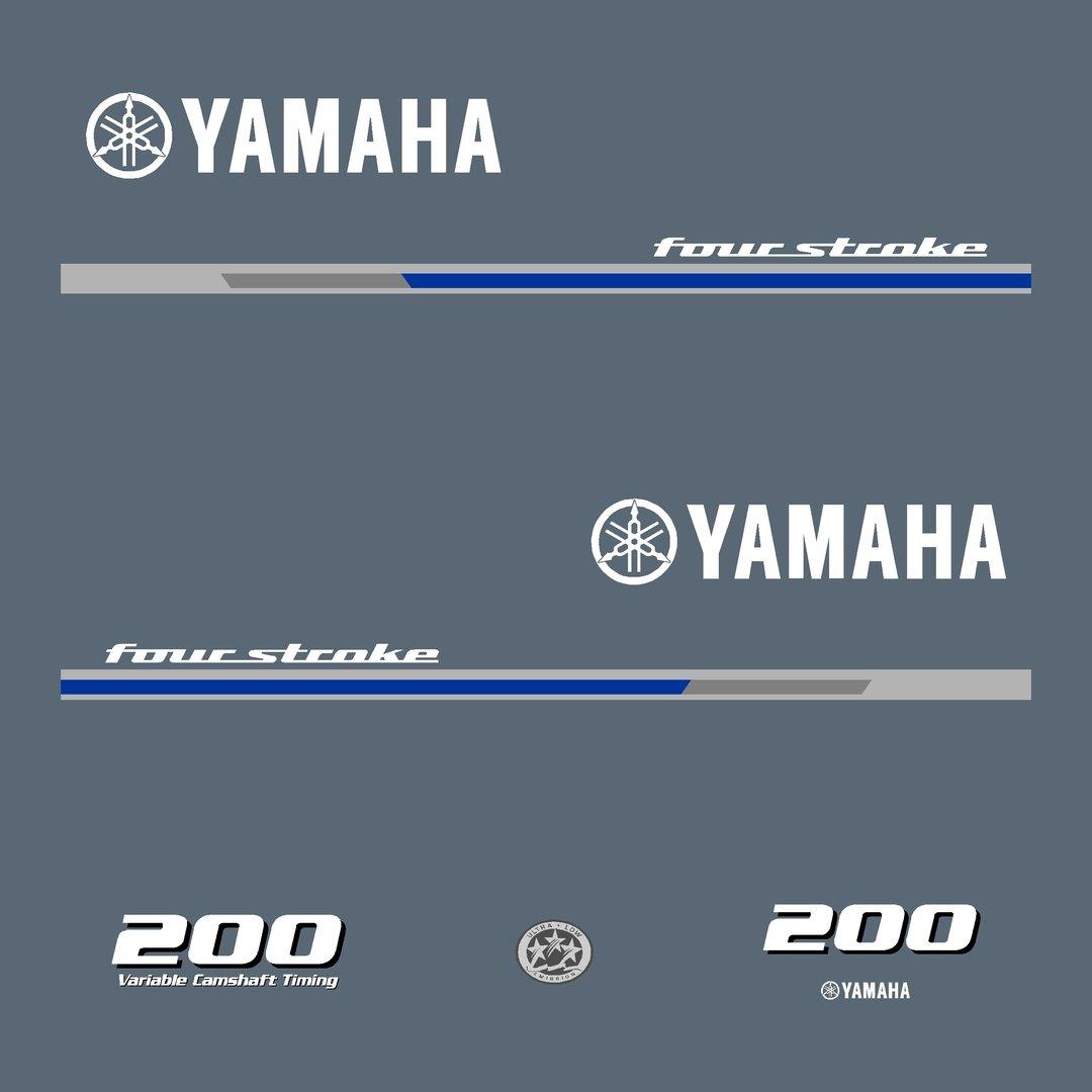 1 kit stickers yamaha 200cv serie 1 pour capot moteur