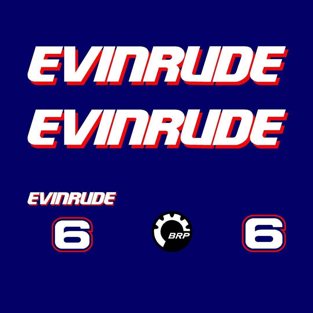 1 kit stickers evinrude 6 cv serie 1 pour capot moteur