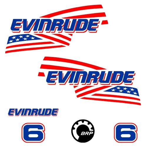 1 kit stickers EVINRUDE 6 cv serie 2 ref 1