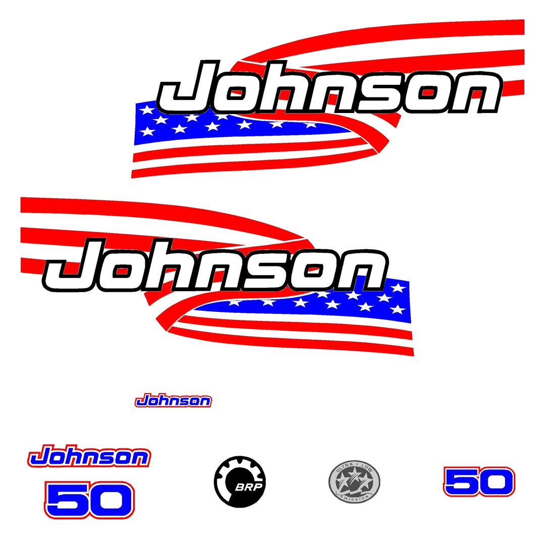 1 kit stickers johnson 50cv serie 6 autocollant pour capot