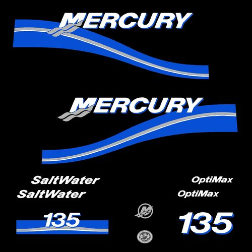 1 kit stickers MERCURY 135 cv Optimax Saltwater serie 2