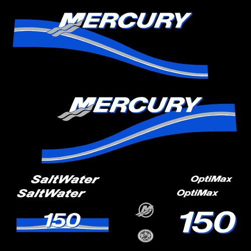 1 kit stickers MERCURY 150 cv Optimax Saltwater serie 2