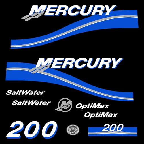 kit stickers MERCURY 200cv Optimax Saltwater serie 2 A